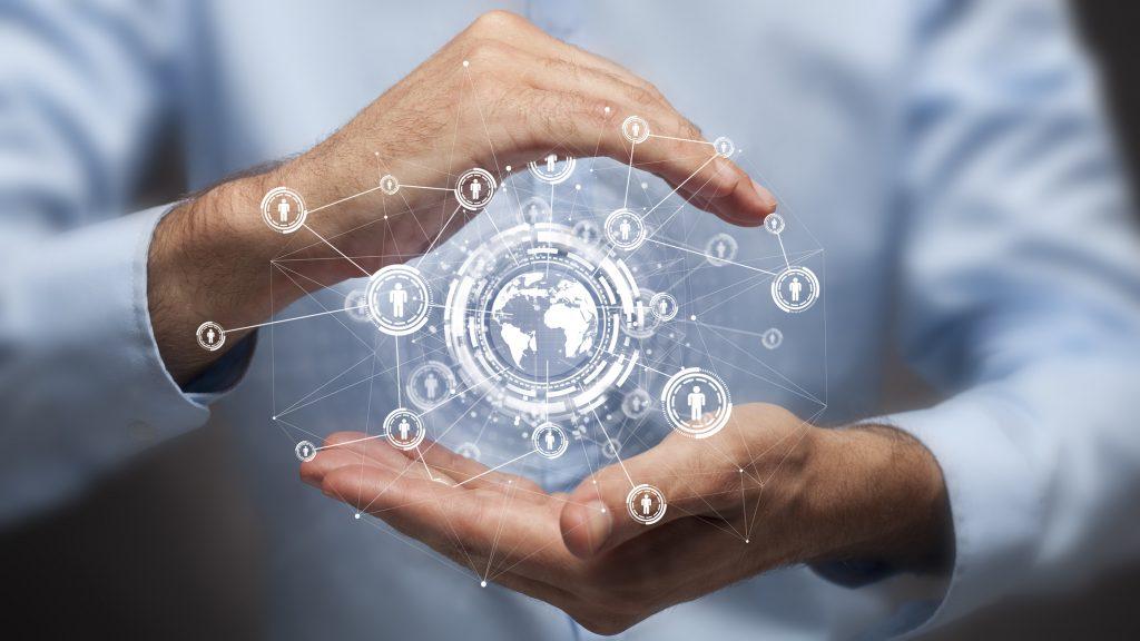 a digital graphic of a man holding a digital world