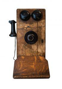 Isolated Antique Wooden Crank Telephone On White Background