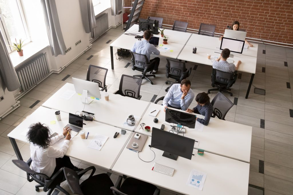 working together in a technological office